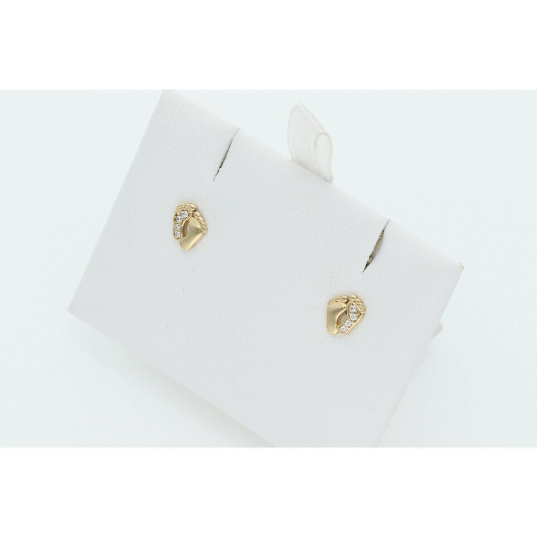 14 Karat Gold & Cz Baby Feet Earrings W: 0.8 ~
