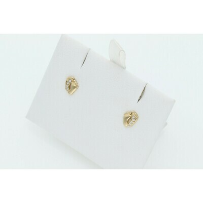 14 Karat Gold & Cz Baby Feet Earrings W: 0.8 ~