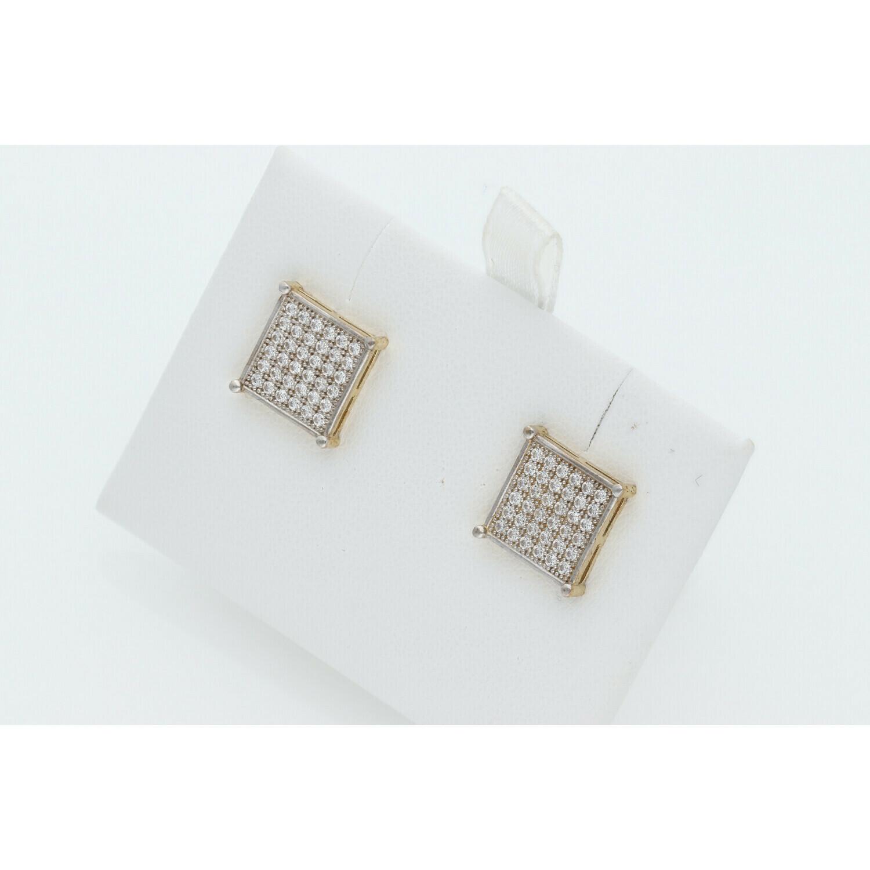 10 Karat Gold & Cz Square Earrings W: 3.3 ~