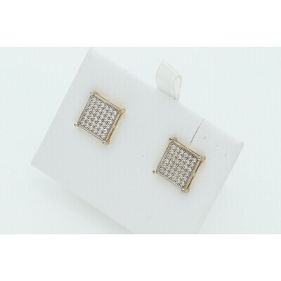 10 Karat Gold & Cz Square Earrings W: 3.3 ~