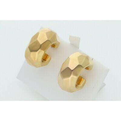 14 Karat Gold Carved Stone Hoops