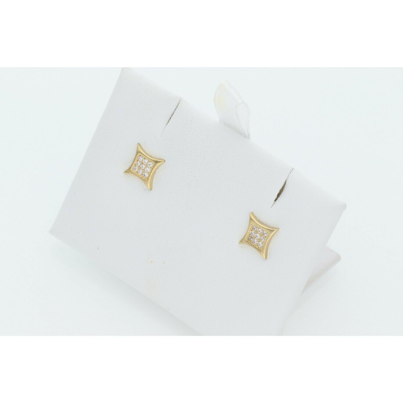 10 Karat Gold & Zirconium Curved Square Earrings