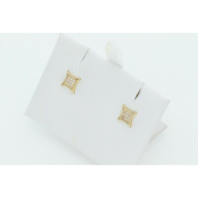10 Karat Gold & Zirconium Curved Square Earrings