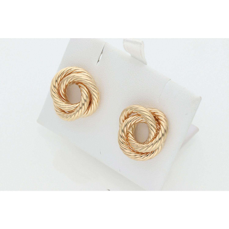 10 Karat Gold Triple Turned Knot Earrings