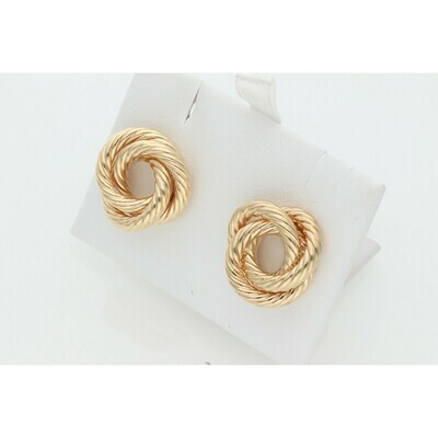 10 Karat Gold Tripple Turned Hoops Earrings W: 3.4 ~