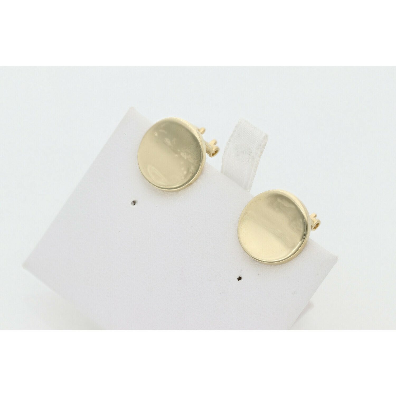 10 Karat Gold Plane Circle Earrings