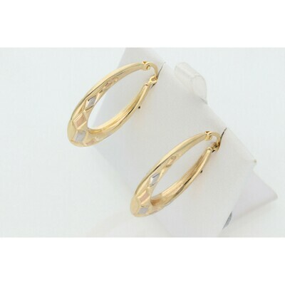 14 Karat Gold Three Tone Lines Uneven Hoops W: 3.2 ~