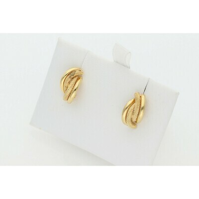 10 Karat Gold Textured Half Knot Earrings