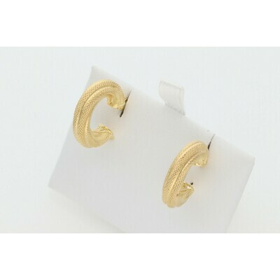 10 Karat Gold Textured Lines Small Hoops Earrings