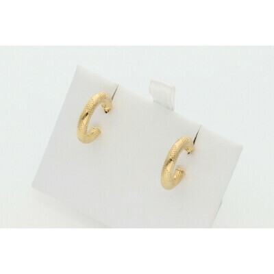 10 Karat Gold Textured Small Hoops Earrings
