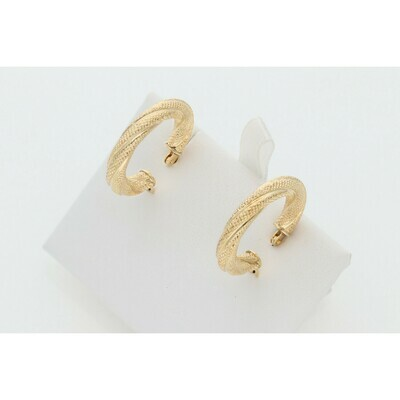 14 Karat Gold Turned Textured Thick Medium Hoops Earrings