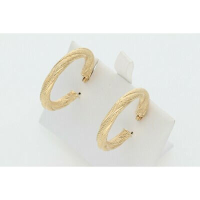 14 Karat Gold Turned Textured Medium Hoops W: 2.5 ~