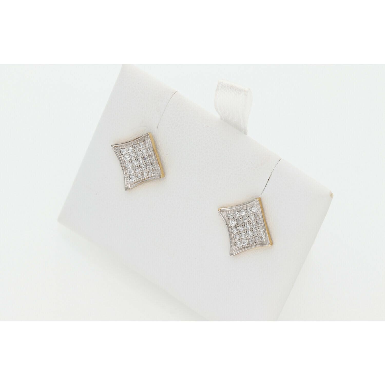 10 Karat Gold & Zirconium Square Earrings