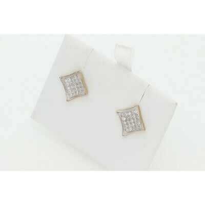 10 Karat Gold & Zirconium Square Earrings