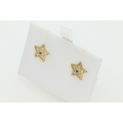 10 Karat Gold & Zirconium Star Earrings