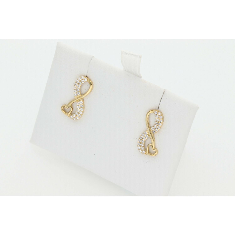 10 Karat Gold & Zirconium Infinite Heart Earrings