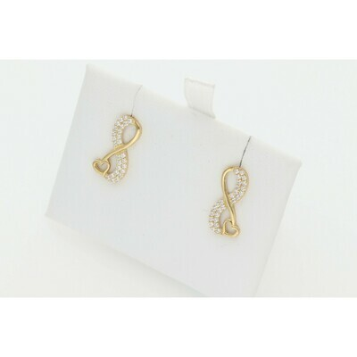 10 Karat Gold & Zirconium Infinite Heart Earrings