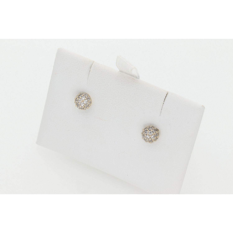 14 Karat Gold & Cz Little Dome Earrings W: 1.3 ~