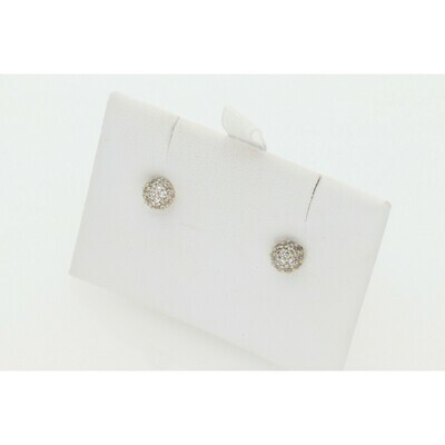 14 Karat Gold & Cz Little Dome Earrings W: 1.3 ~