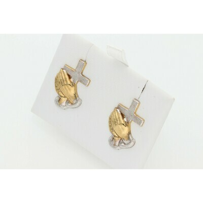 10 karat Gold Cross and Hands Two Tone Earrings