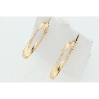 14 Karat Gold Long Hoops Earring W: 2.3 ~