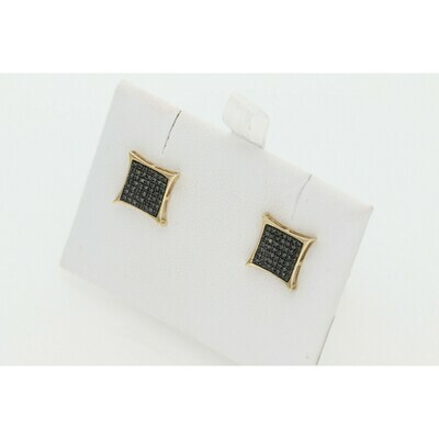 10 Karat Gold & Black Diamond Kite Earrings