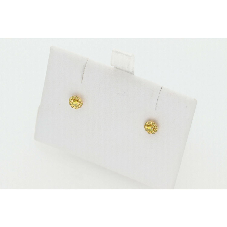10 Karat Gold & Diamond Yellow  Fleur Studs Earrings