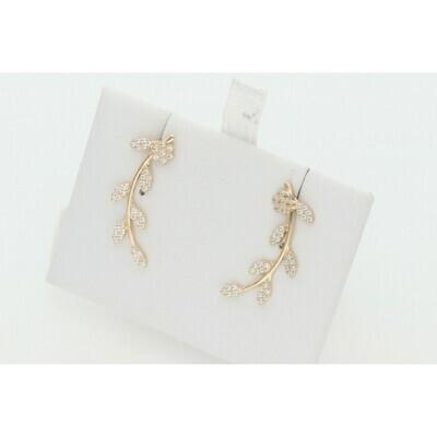 14 Karat Gold & Cz Leafs Earrings W: 2.1 ~
