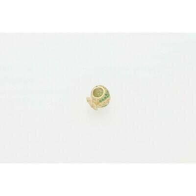 14 Karat Gold & Zirconium Green Dollar Bag Charm