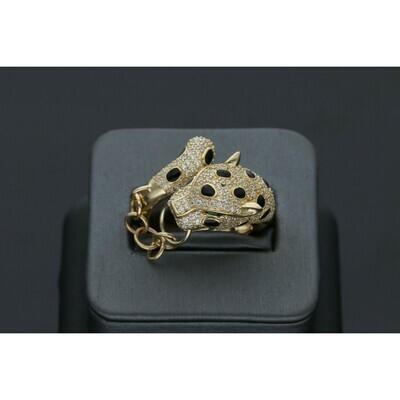 14 Karat Gold & Zirconium Hoop Chain Leopard Ring
