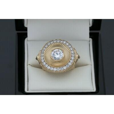 10 karat Gold & Zirconium Three Lion Circle Ring