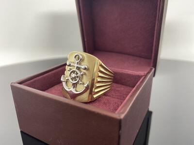 10 Karat Gold Two Tone Rudder Anchor Ring