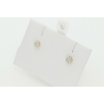 10 Karat Gold & Diamond Flower Earrings