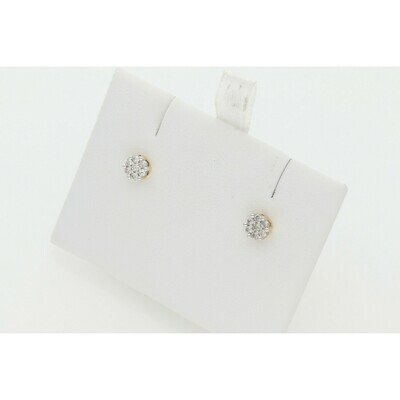 10 Karat Gold & Diamond Flower Earrings ~