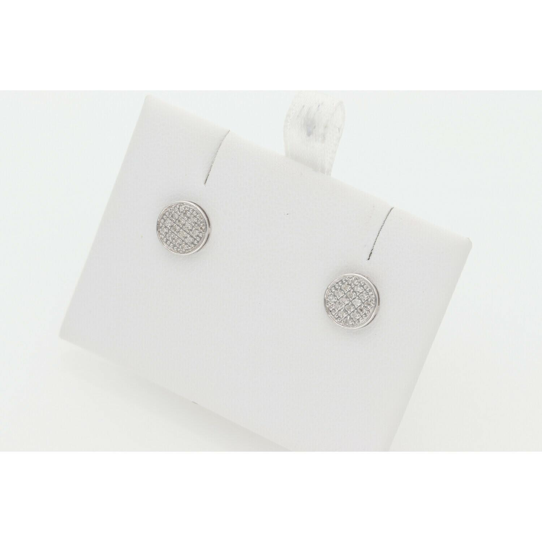 10 Karat Gold & Diamond Round Flat Earrings