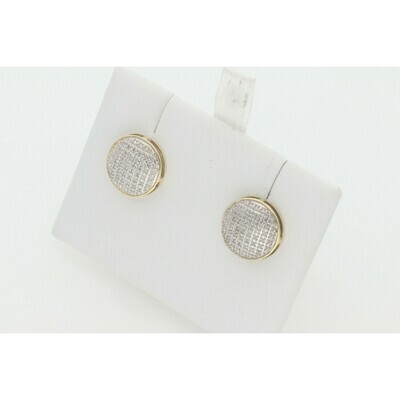 10 Karat Gold & 0.20 Ctw Diamond Round Flat Earrings