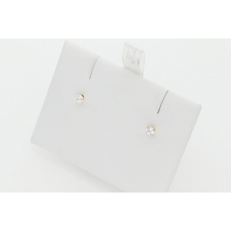 10 Karat Gold & Zirconium Round Stud Earrings