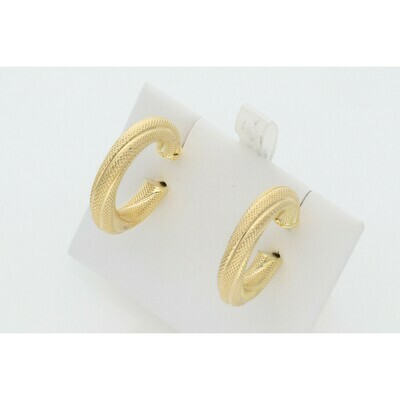 10 Karat Gold Textured Lines Medium Hoops Earrings W: 2.7 ~