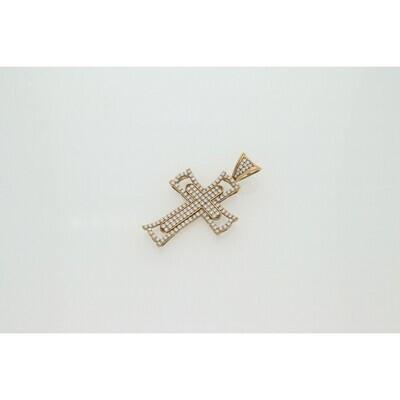 10 karat Gold & Zirconium Cross Pendant