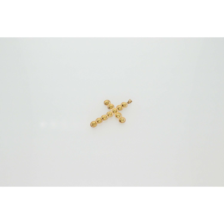 10 Karat Gold Balls Cross Charm