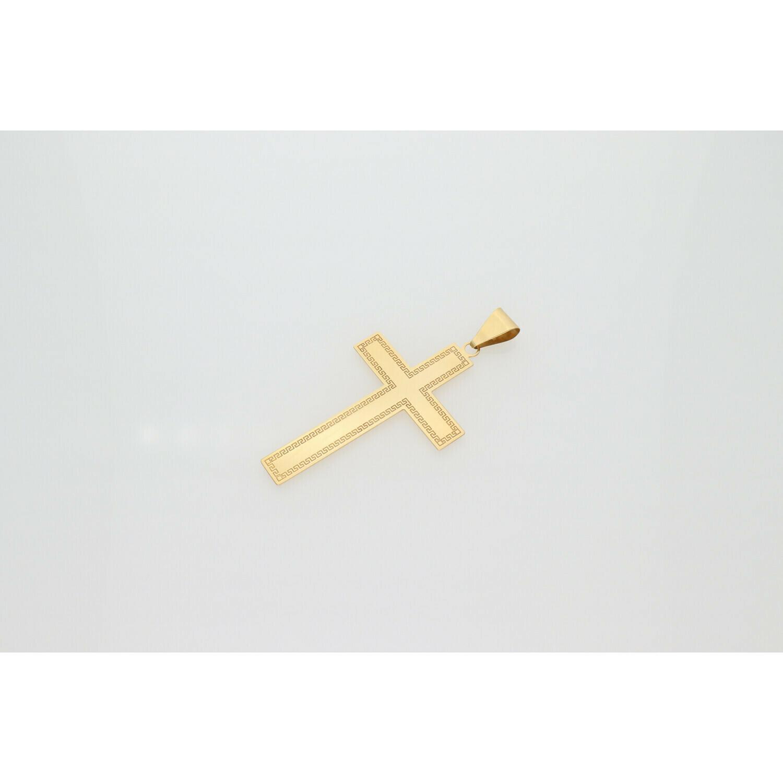 14 Karat Gold Maze Cross Charm