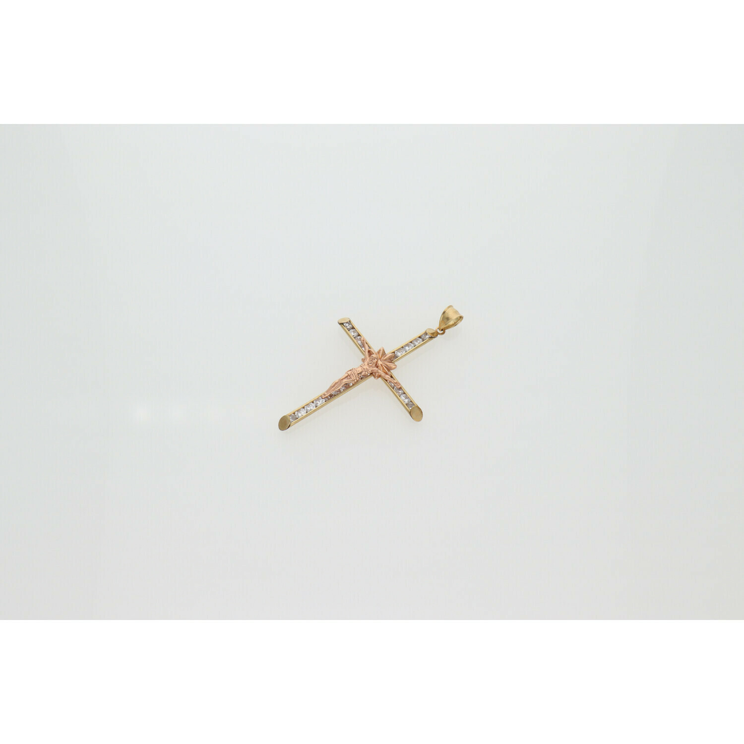 10 Karat Gold & Zirconium Two Tone Cross Jesus Cross Charm