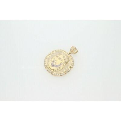 10 Karat Gold & Zirconium Two Tone Jesus Face Medal