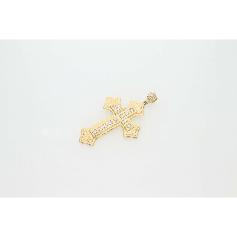 10 Karat Gold & Zirconium Cross Charm