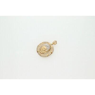 10 Karat Gold & Zirconium Buddha Medal