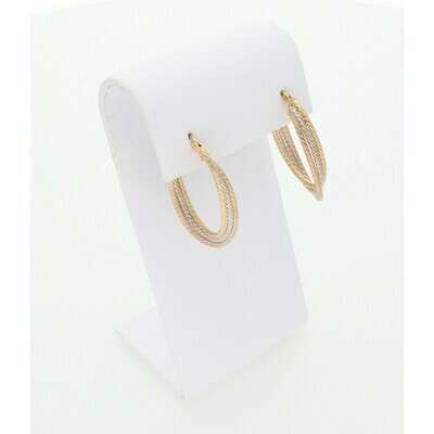 10 Karat Gold Three Tone Texture Oval Rope Hoops