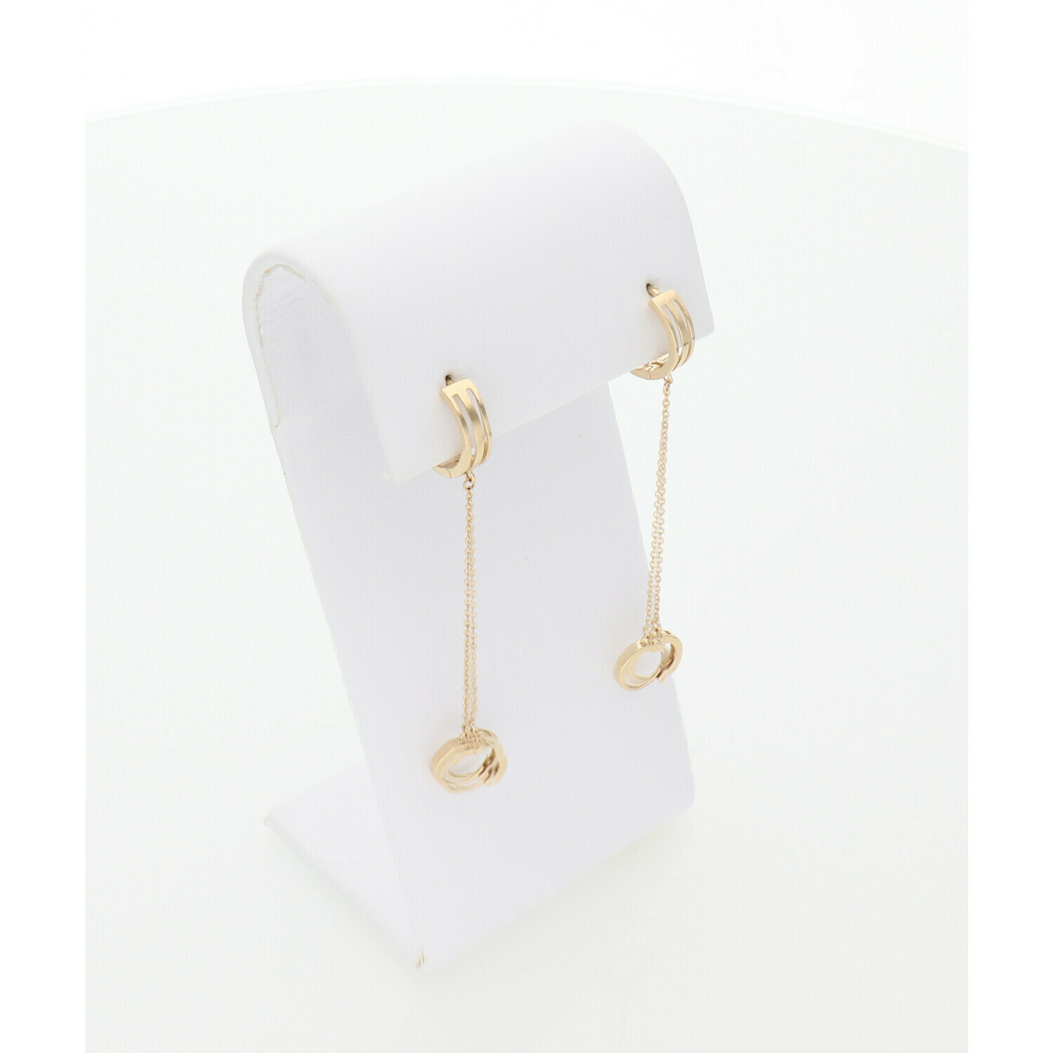14 Karat Gold Double Hoops Chained Earrings
