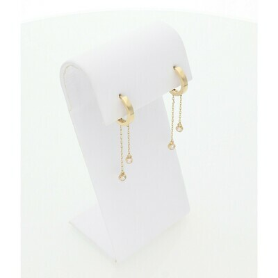 14 karat Gold & Zirconium Hoop Earrings