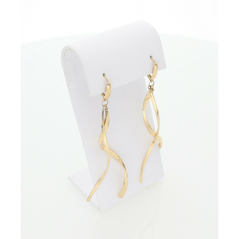 14 Karat Gold Curved Stick Earrings