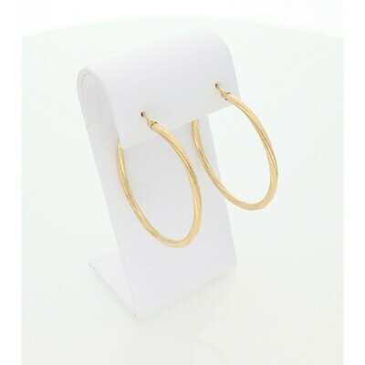 14 Karat Gold Turned Textured Large Hoops Earrings W: 2.4 ~